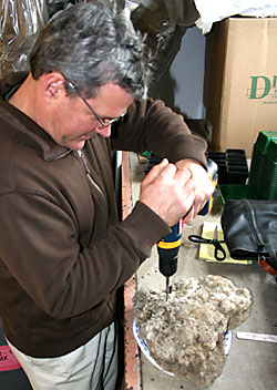 Tom Myers drilling tufa